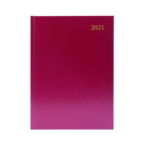 Desk Diary Day Per Page A5 Burgundy 2021 KFA51BG21