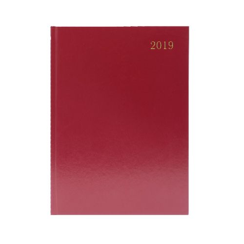 Burgundy Desk A5 Diary 2 Days/Page 2019