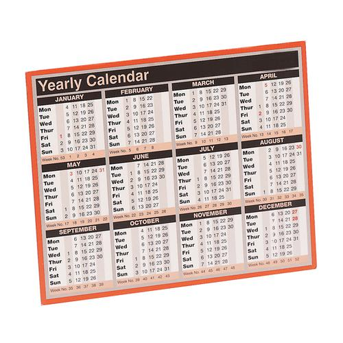 Year to View Calendar 257 x 210mm 2020