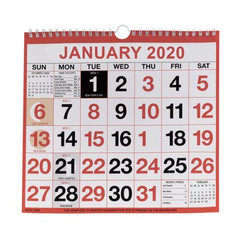 Wirebound Monthly Calendar 249 x 231mm 2020 KFYC2220