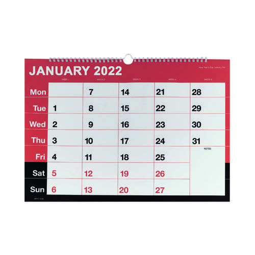 Wirebound Month To View Calendar A3 2022 KFYC2322