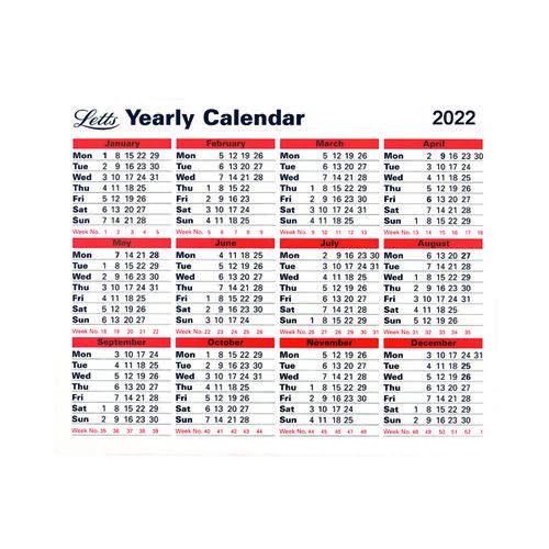 Letts Yearly Calendar 2022 22-TYC