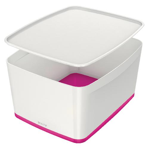 Leitz MyBox Large with Lid WOW White Pink