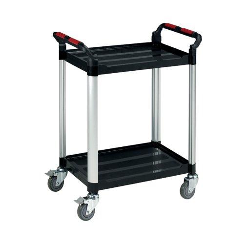Barton Black and Silver 2 Shelf Standard Plastic Trolley White WHTT2SS
