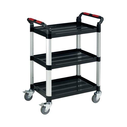 Barton Black and Silver 3 Shelf Standard Plastic Trolley White WHTT3SS