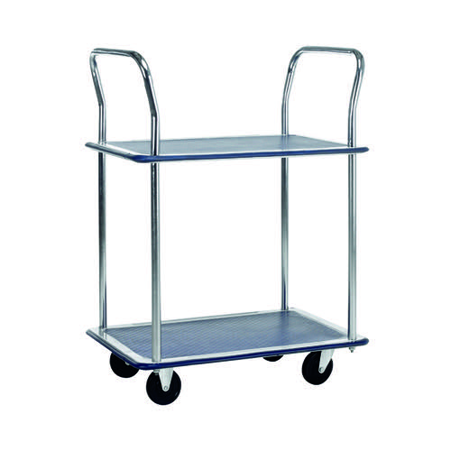 Barton Silver and Blue 2 Shelf Trolley With Chrome Handles PST2