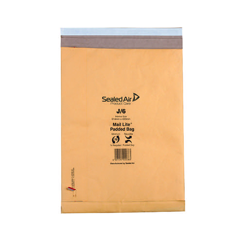 Mail Lite Padded Postal Bag Size J/6 314x450mm Gold (Pack of 50) 100943512