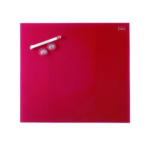 Nobo Diamond Glass Magnetic Whiteboard 300x300mm Red 1903954