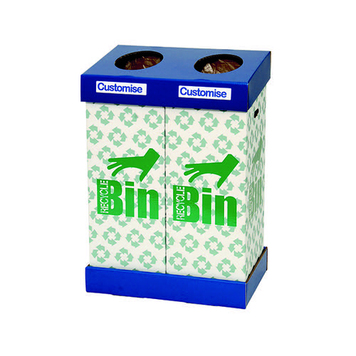 Acorn Office Twin Recycling Bin Blue/Green (95 litres each bin) 802853