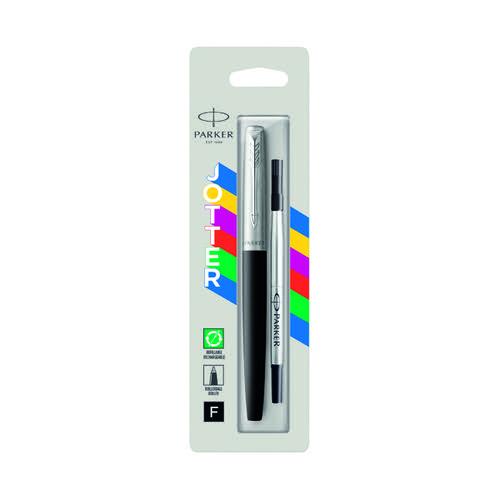 Parker Jotter Rollerball Pen Fine Tip Black Barrel Black Ink 2096886