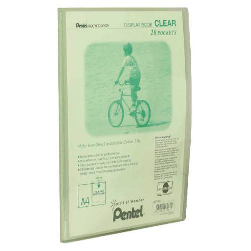 Pentel Recycology A4 Display Book Clear 20 Pocket Green PK20