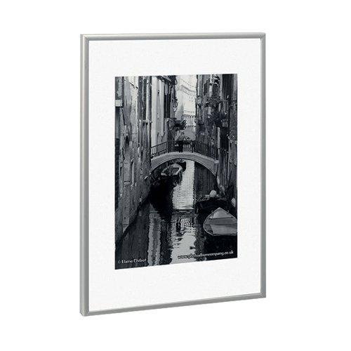 Photo Album co A3 Poster Display/Cert Frame Satin Silver Aluminium
