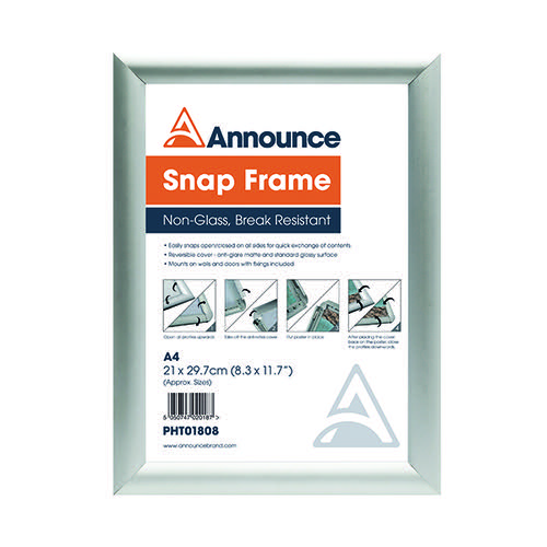 Announce A4 Snap Frame (25mm anodised aluminium frame Wall fixings included) PHT01808