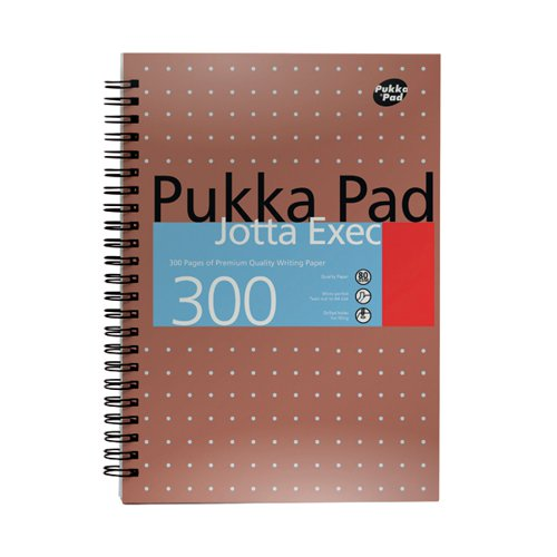 Pukka Ruled Metallic Wirebound Executive Jotta Notepad 300 Pages A4+ (Pack of 3)7019-MET