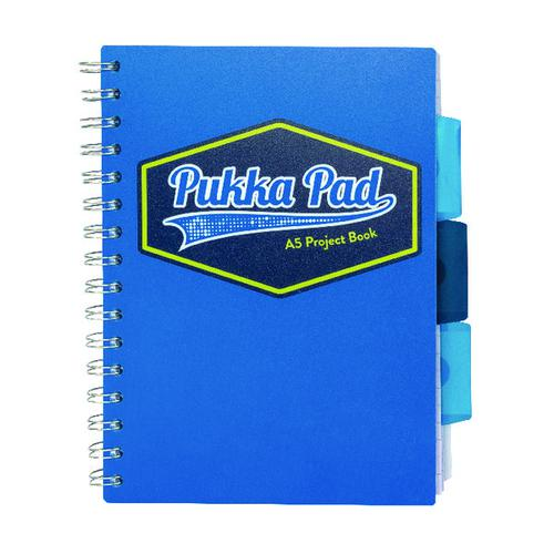 Pukka Pad Vision Wirebound Project Book A5 Blue (Pack of 3) 8612-VIS