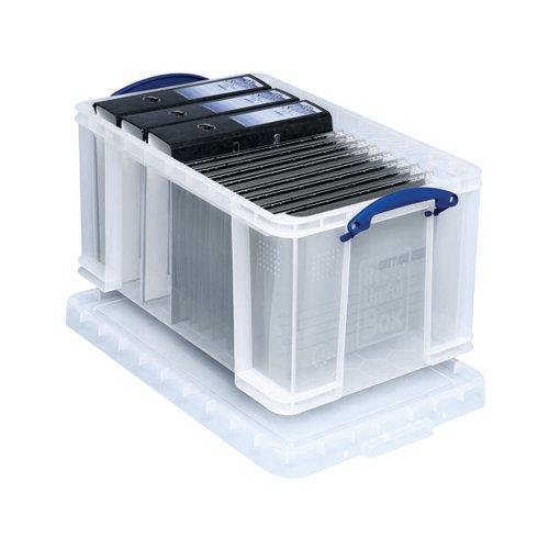 Really Useful 48L Plastic Storage Box W600xD400xH310mm Clear 48C
