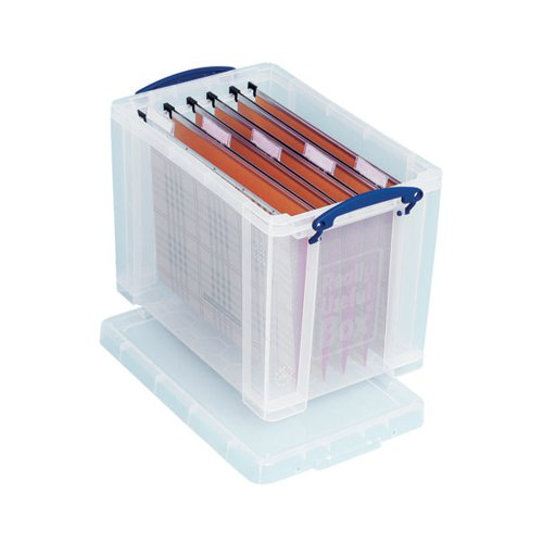 Really Useful 24L Plastic Storage Box With Lid W465xD270xH290mm Clear RUP80256