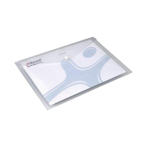 Rexel Ice Popper Wallet Folder Landscape A4 Clear (Pack of 5) 2101660