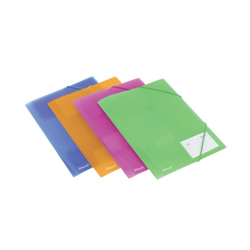 Rexel Ice PP Elasticated 4 Fold File A4 Assorted (Pack of 4) 2102050