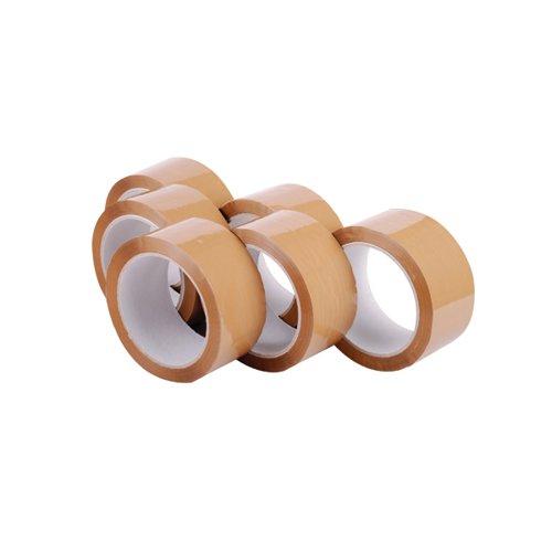 Polypropylene Packaging Tape 48mmx66m Brown (Pack of 6) 7671