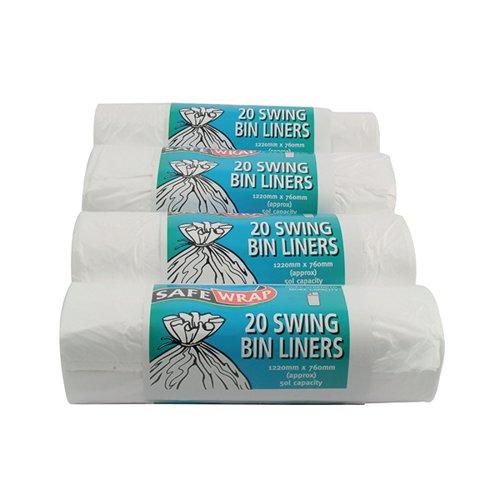 Safewrap Standard Swing Bin Liner White (Pack of 80) 0441