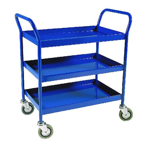Image for Service Trolley 3-Tier Fixed Blue 306764