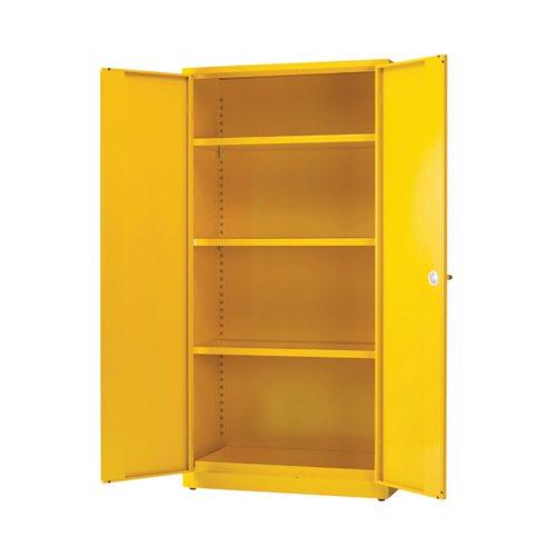 Image for Hazardous Substance Storage Cabinet 72x48x18 inch C/W 3 Shelf Yellow 188733