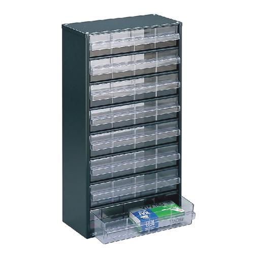 Clear 8 Drawer System Dark Grey Storage Cabinet 324234