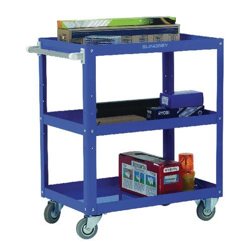 Works 3-Tier Trolley Blue (W500 x D820 x H900mm 150kg Capacity) 329946
