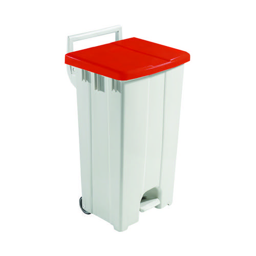 Grey 90 Litre Plastic Pedal Bin With Red Lid 357004