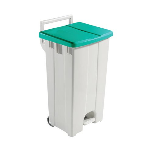 Grey 90 Litre Plastic Pedal Bin With Green Lid 357005