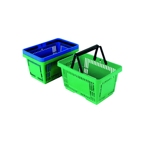 12 x Plastic Shopping Basket Green (22 litre shopping baskets) 370767
