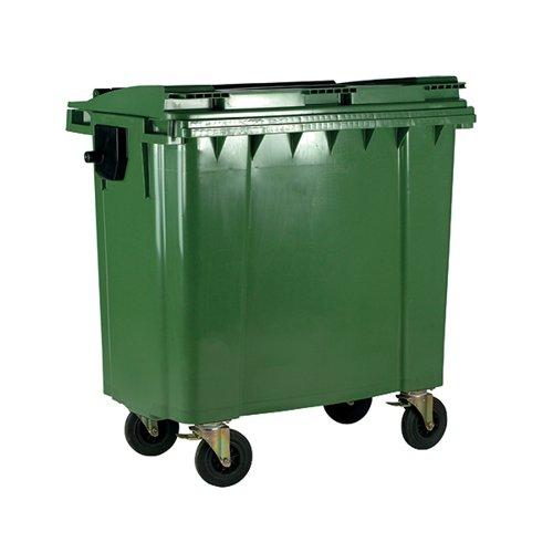 Wheelie Bin With Flat Lid 770 Litre Green (Dimensions: H1360 x W1350 x D770mm) 377387
