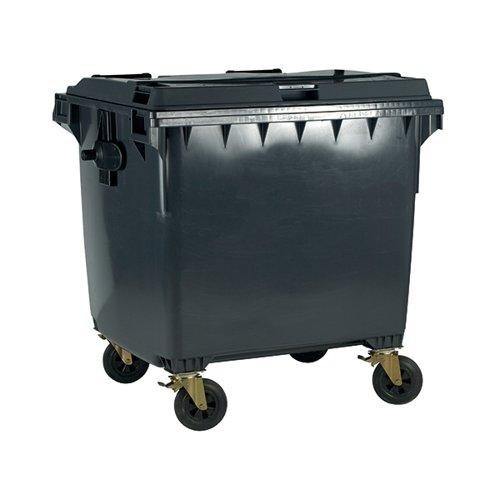 Wheelie Bin With Flat Lid 770 Litre Grey 377388