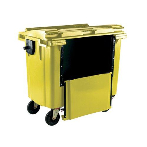 Wheelie Bin With Drop Down Front 770 Litre Yellow 377973