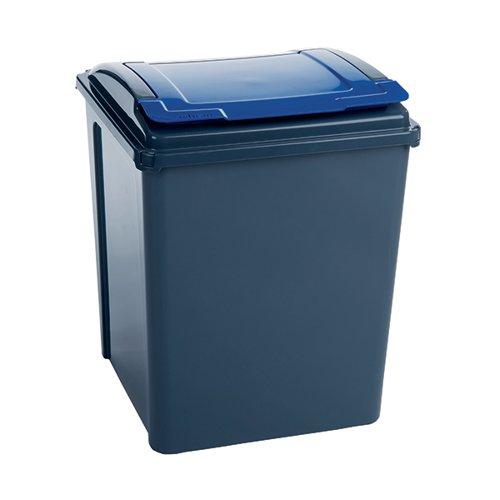 VFM Recycling Bin With Lid 50 Litre Blue 384290