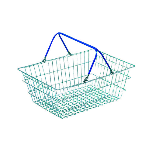 Wire Shopping Baskets Pack of 5 (Zinc coated wite, polythene handles)