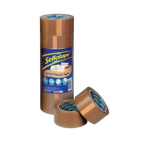 Sellotape Buff Vinyl Case Sealing 50mmx66m PK6