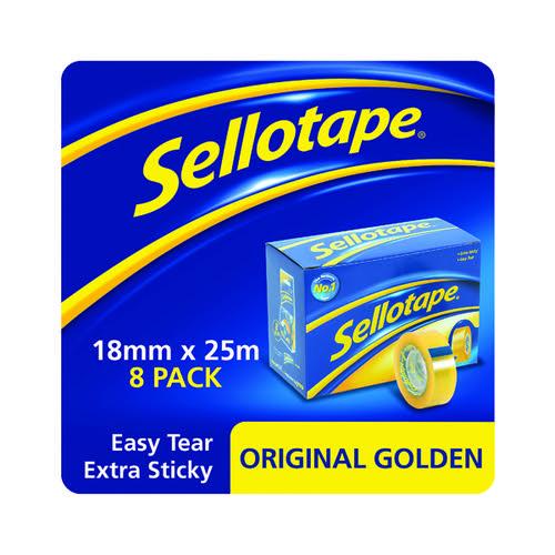 Sellotape Original Golden Tape 18mmx25m (Pack of 8) 1569069
