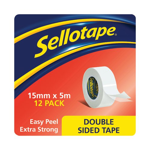 Sellotape Double Sided Tape 15mm x 5m (Pack of 12) 1445293