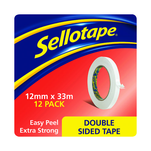 Sellotape Double Sided Tape 12mm x 33m Pk12 1447057