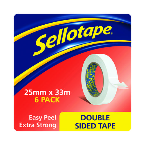 Sellotape Double Sided Tape 25mm x 33m Pk6 1447052