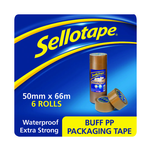 Sellotape Poly Packaging Tape 50mmx66m Brown (Pack of 6) 1445172