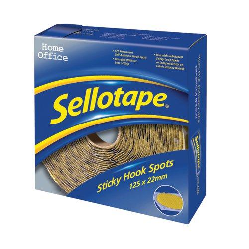125 x Sellotape Sticky Hook Spots (Permanent, self-adhesive loop spots) 1445185