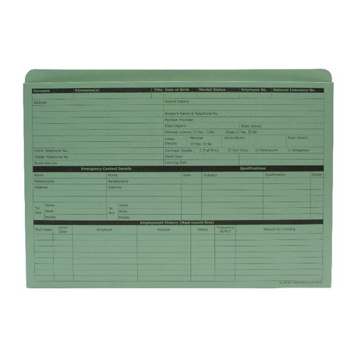 Custom Forms Personnel Wallet Green (Pack of 50) PWG01