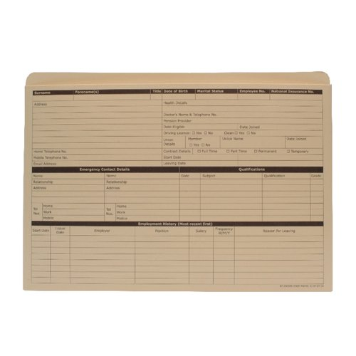 Custom Forms Personnel Wallet Buff (Pack of 50) PWY01