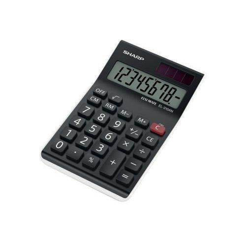 Sharp EL310AN Semi-Desktop 8-Digit Calculator Black