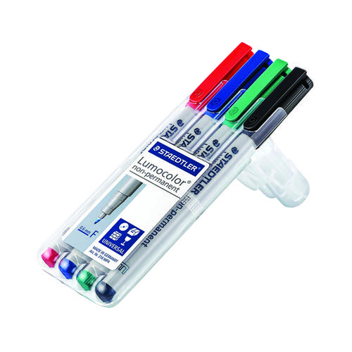 Staedtler Lumocolour Universal Pen Water Soluble Fine Assorted (Pack of 4) 316-WP4