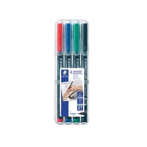 Staedtler Lumocolour Universal Pen Permanent Fine Assorted (Pack of 4) 318-WP4