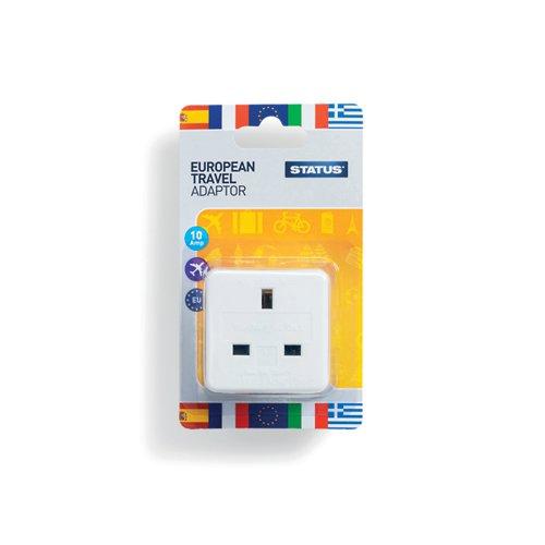 Status European Travel Adaptor Plug (Pack of 12) SEUROAB112